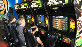 4 Player Sit Down Driving Arcade Game