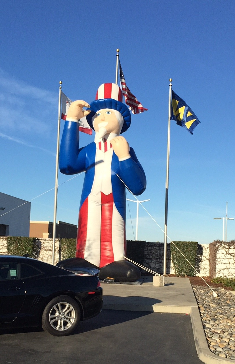 Inflatable Uncle Sam Lets Party