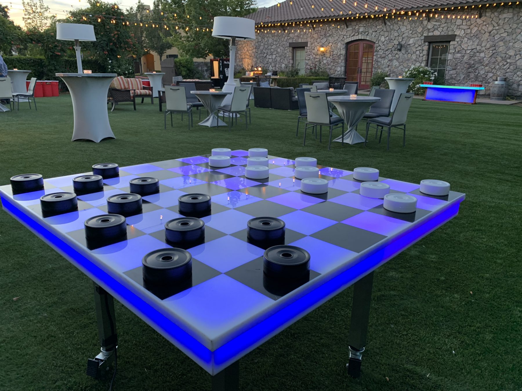 Glow checkers game rental