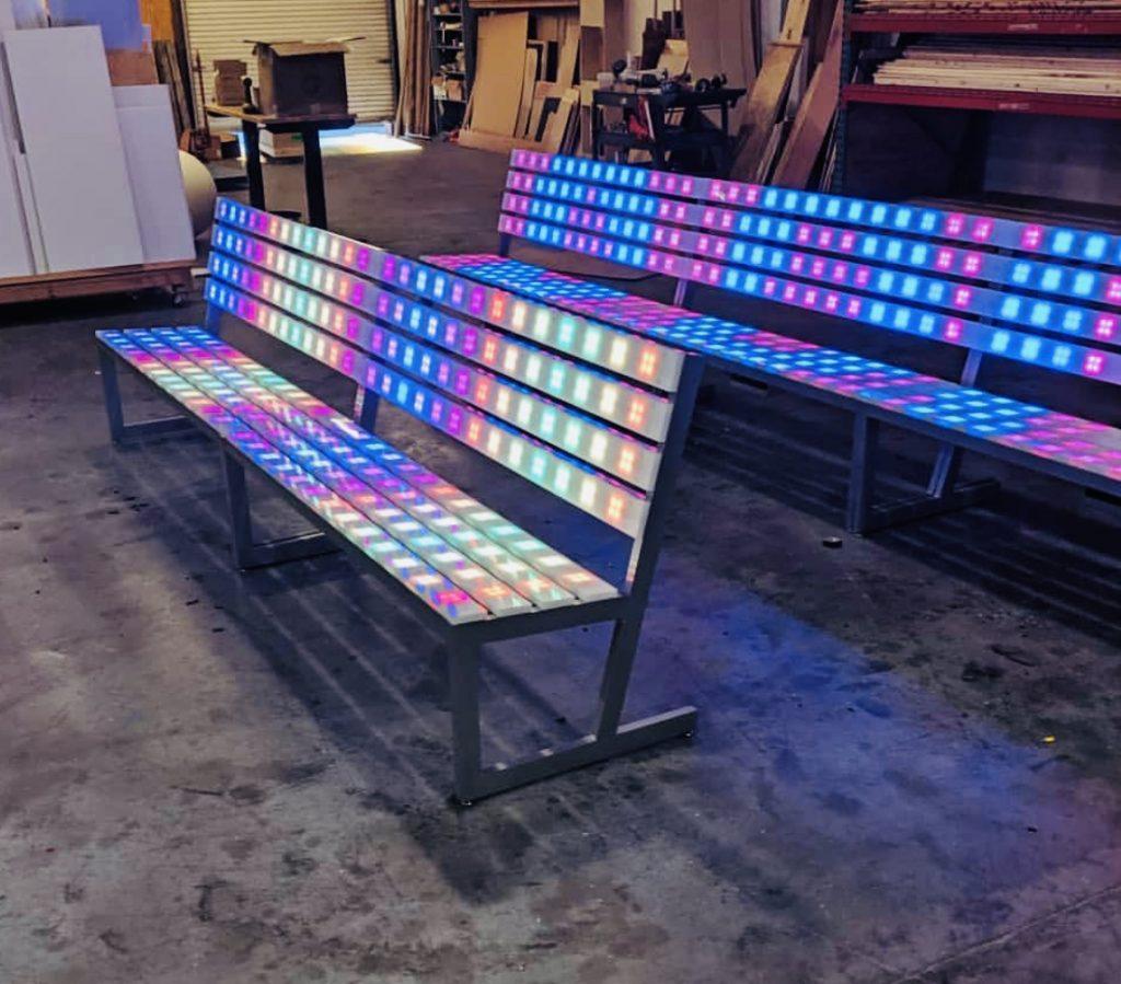 LED Lighted Park Bench Rental San Jose